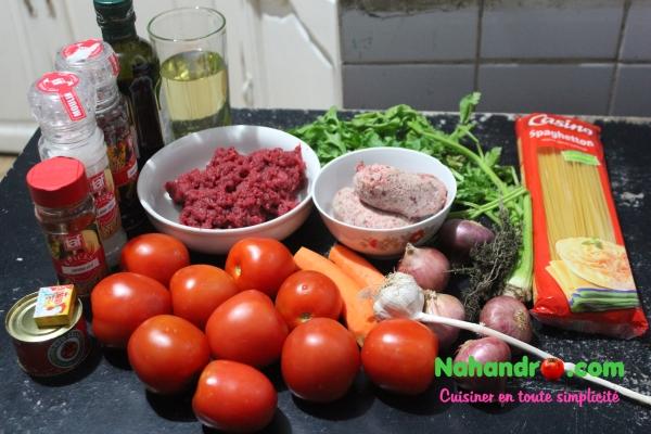 spaghettis à la bolognaise ingrédients