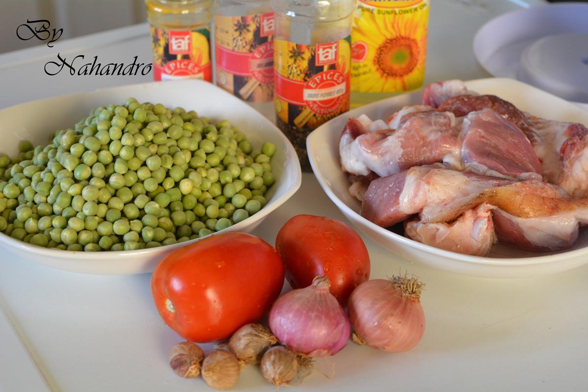 viande de porc aux petits pois ingrédients
