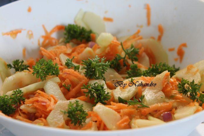 salade de concombres et carottes